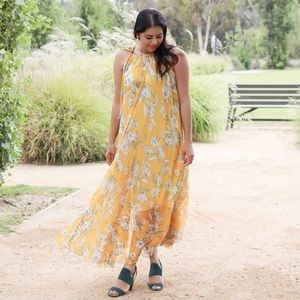 Yellow Floral Flowy Maxi Dress